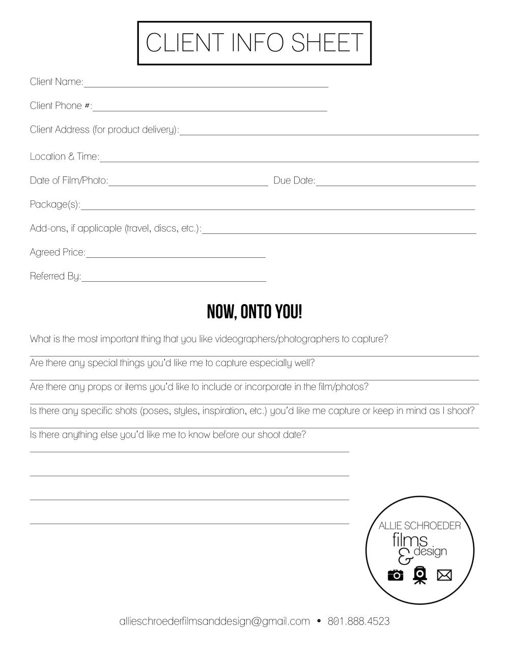 Client Info Sheet WEBSITE